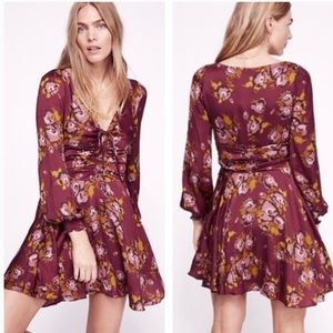 Free People Purple Com long sleeve mini dress 0